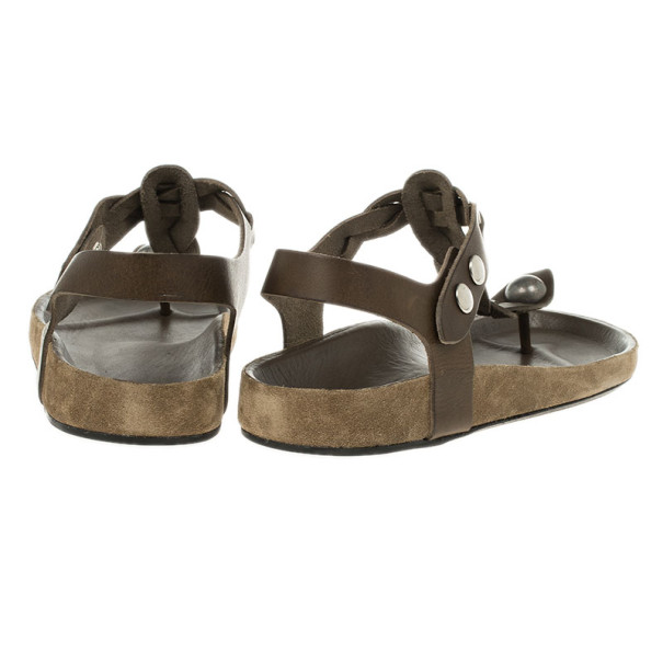 Isabel Marant Brown Braided Leather Brook Sandals Size 40