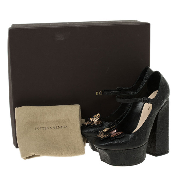 Bottega Veneta Limited Edition Butterfly Embossed Mary Jane Platform Pumps Size 39