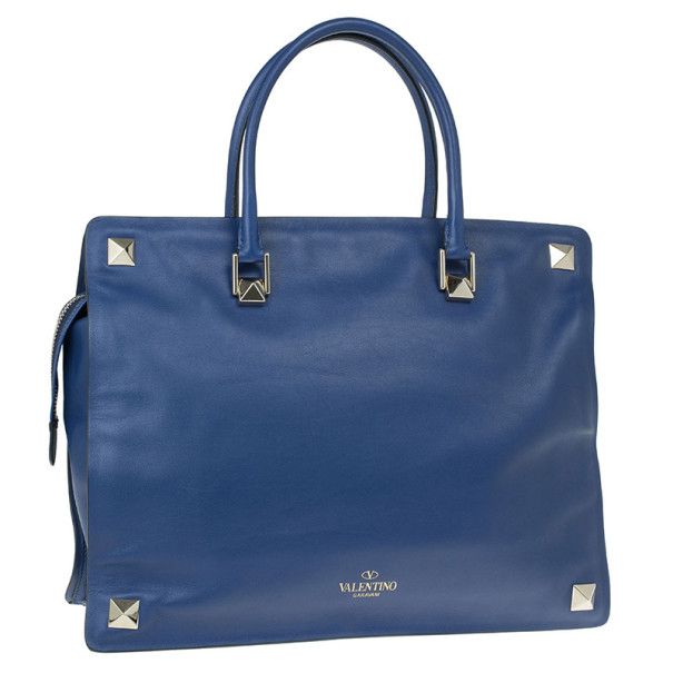 Valentino Blue Leather Studded Tote