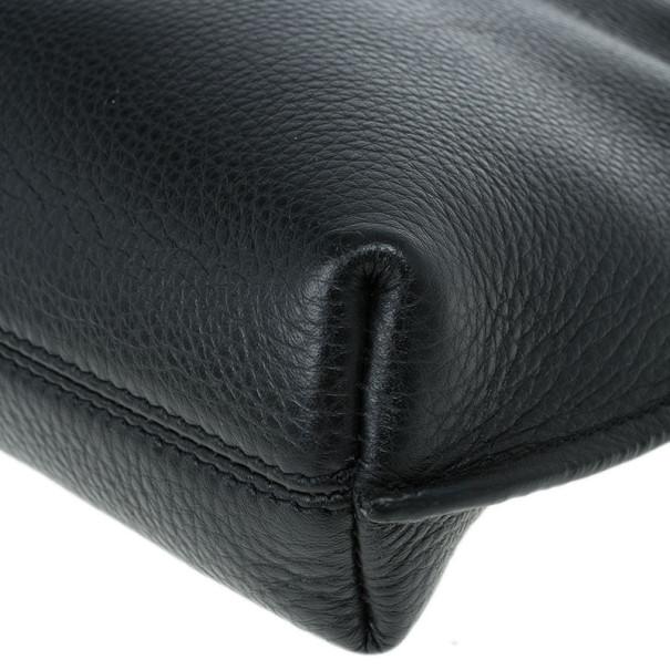 Tom Ford Black Leather Alix Fold Over Bag