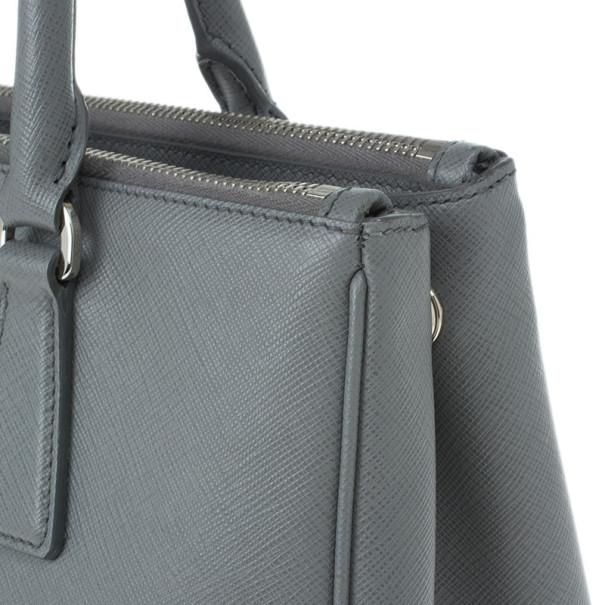 Prada Grey Saffiano Small Double Zip Top Handle Tote