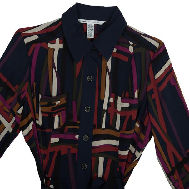 Diane Von Furstenberg 'Calzare' Geometric Print Shirt Dress L