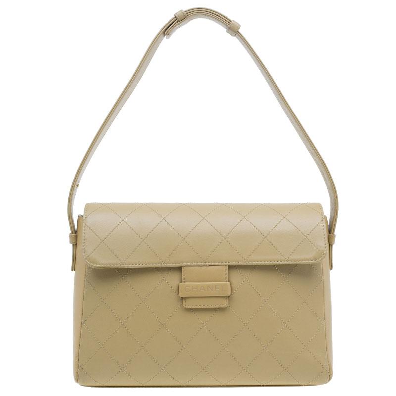 Chanel Beige Quilted Leather Flap Shoulder Bag