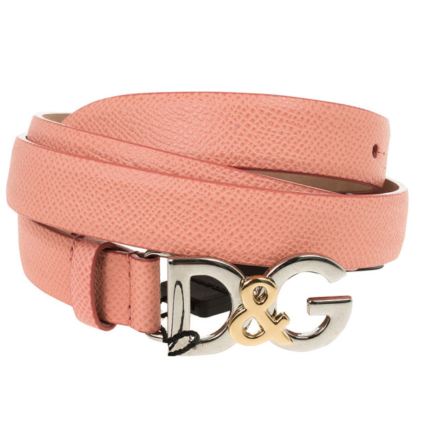 Dolce and Gabbana Coral Leather Logo Belt 85 CM
