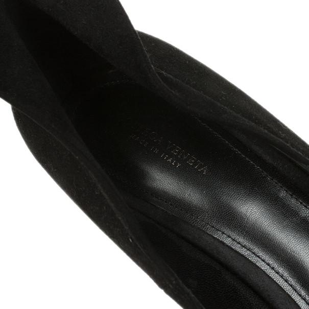 Bottega Veneta Black Suede Collar Detail Platform Pumps Size 41