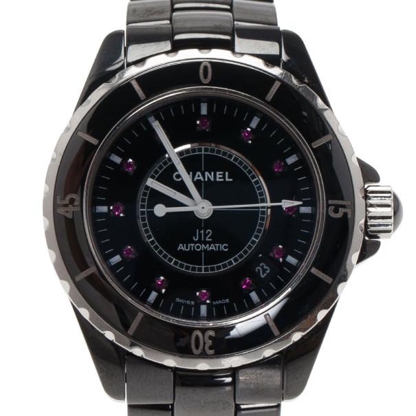 Chanel Black Ceramic J12 Unisex Wristwatch 39MM