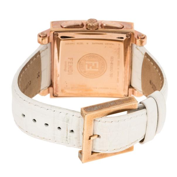 Fendi White Gold-Plated Steel Ceramic Women's Wristwatch 40MM