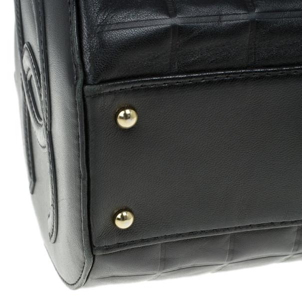 Chanel Black Leather Chocolate Bar Barrel Bag
