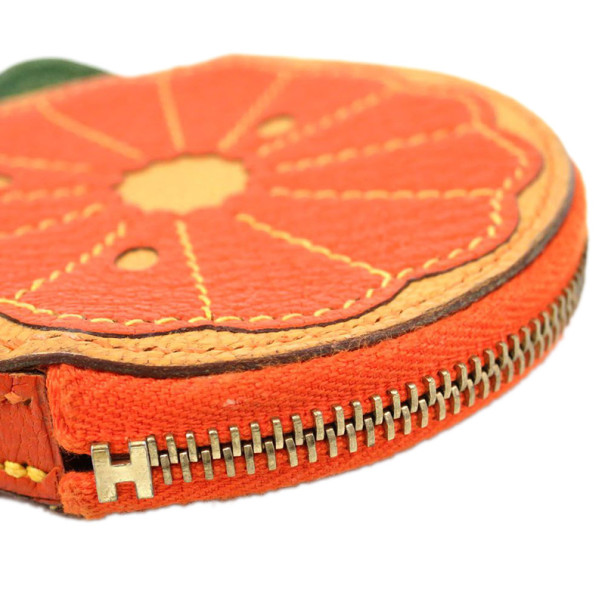 Hermes Orange Chevre Leather Coin Case