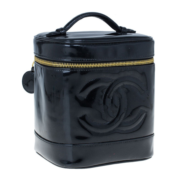 Chanel Black Patent Leather Vanity Bag