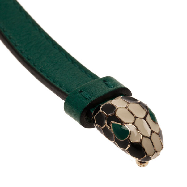Bvlgari Serpenti Double Coiled Green Leather Bracelet 18CM