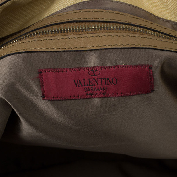 Valentino Beige Canvas Sequin Beaded Floral Applique Tote