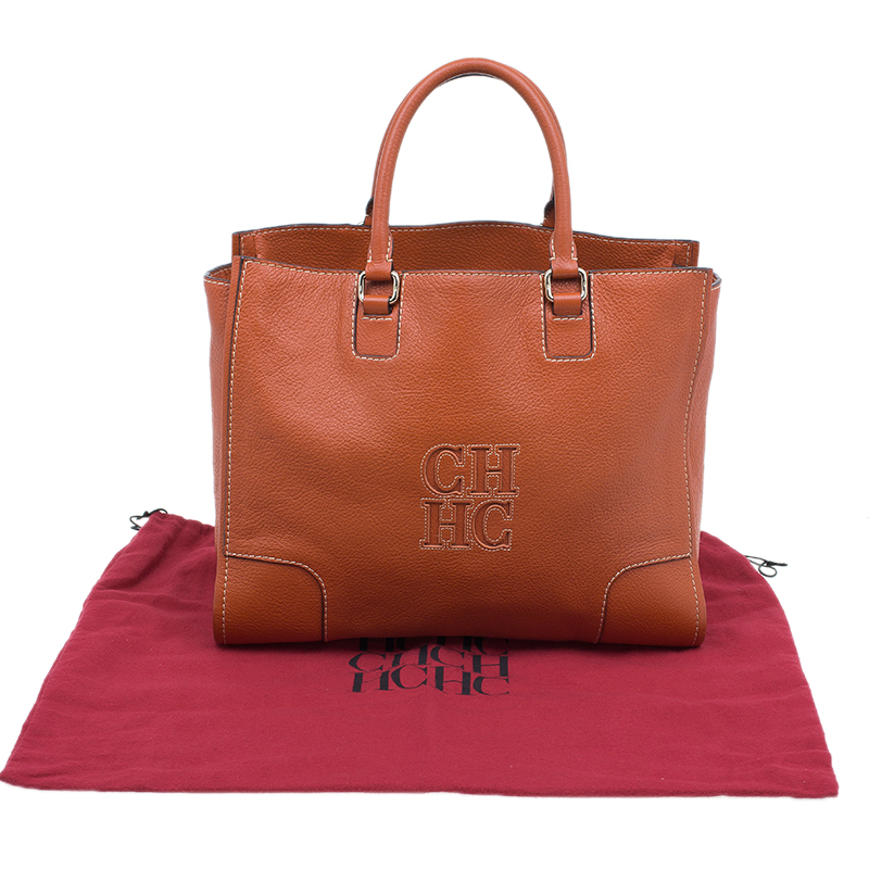 Carolina Herrera Orange Leather Tote Bag
