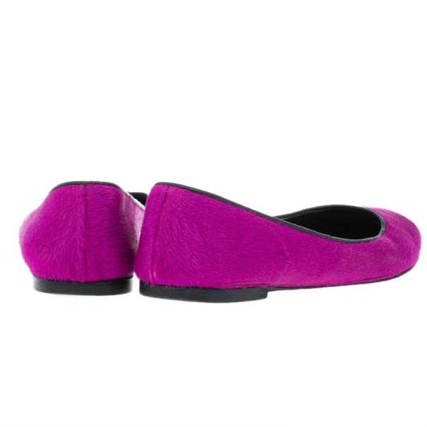 Giuseppe Zanotti Pink Pony Hair Cap Toe Ballet Flats Size 36