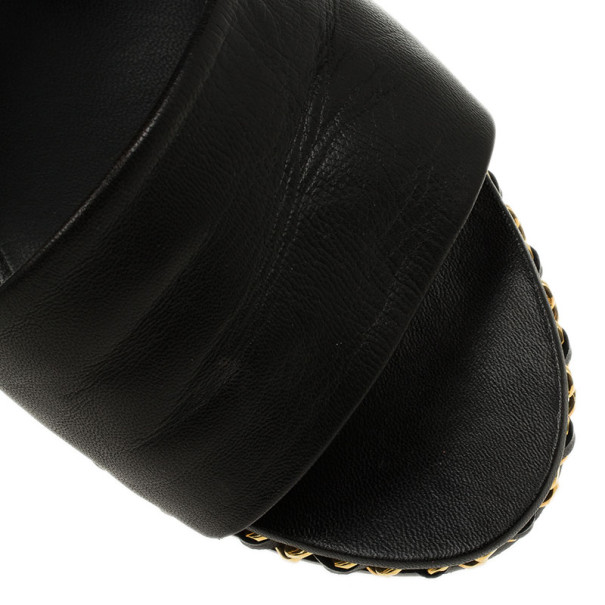 Chanel Black Leather Chain Me Wedge Slides Size 37.5