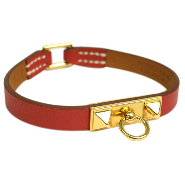 Hermes Micro Rivale Orange Leather Gold-Plated Bracelet 16CM