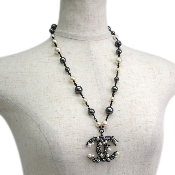 Chanel CC Logo Black and White Pearl Large Pendant Necklace