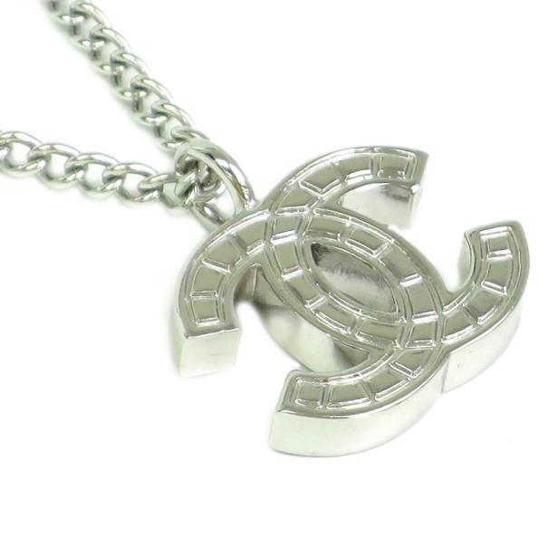 Chanel CC Logo Metal Baguette Motif Pendant Necklace
