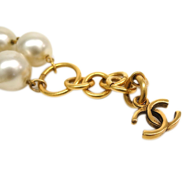 Chanel Vintage Faux Pearls Gold Tone Choker Necklace