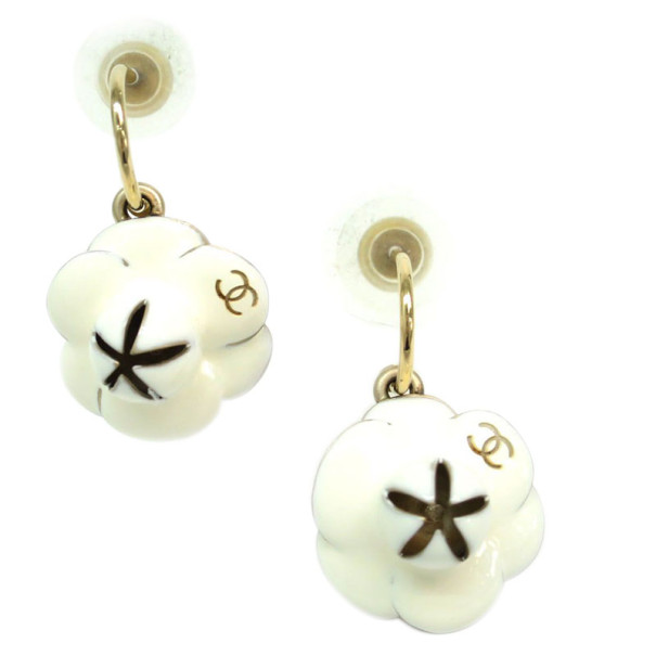 Chanel Camellia White and Black Enamel Hoop Earrings