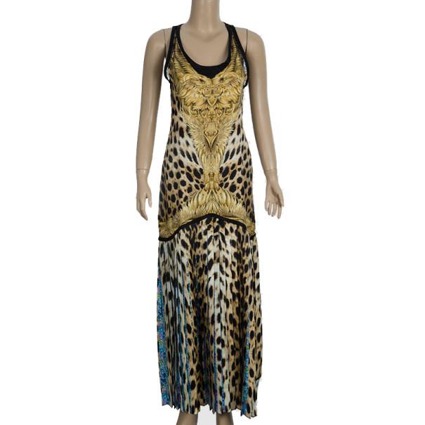 Roberto Cavalli Animal Print Silk Maxi Dress S