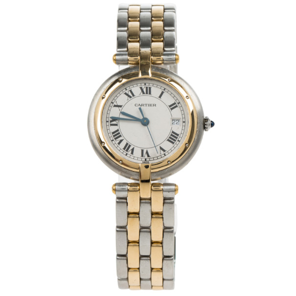Cartier Cream 18K Yellow Gold and Stainless Steel Vendome Women's Wristwatch 27.5MM