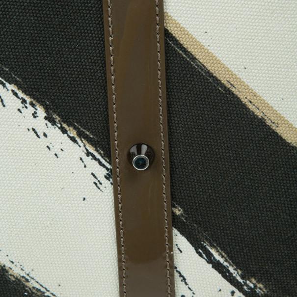 Burberry White Canvas Brushstroke Check Print Shopper