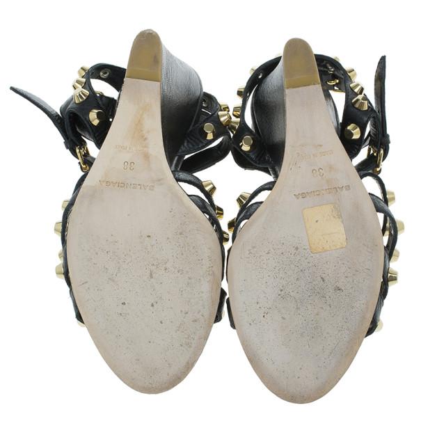 Balenciaga Black Arena Giant Gladiator Wedge Sandals Size 38