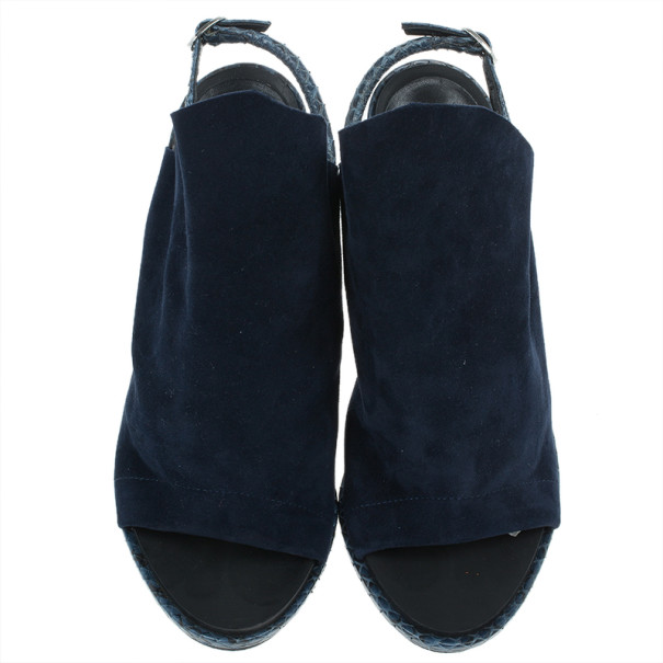 Balenciaga Blue Suede Python Trim Glove Sandals Size 38