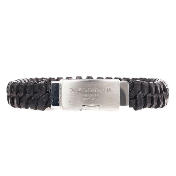 Dolce & Gabbana Black Woven Leather Plaque Bracelet L