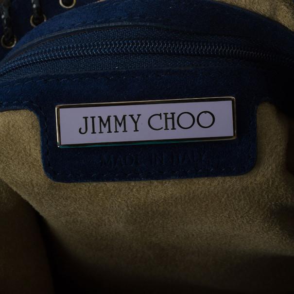 Jimmy Choo Pacific Suede 'Sky' Snakeskin Detail Large Hobo