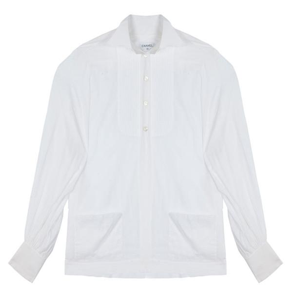 Chanel White Tuxedo Shirt M