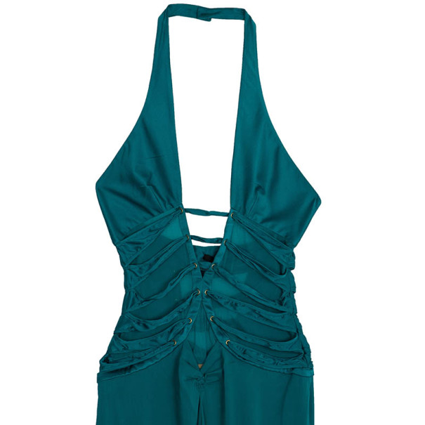 Tom Ford for Gucci Peacock Blue Corset Bodice Halter Dress M