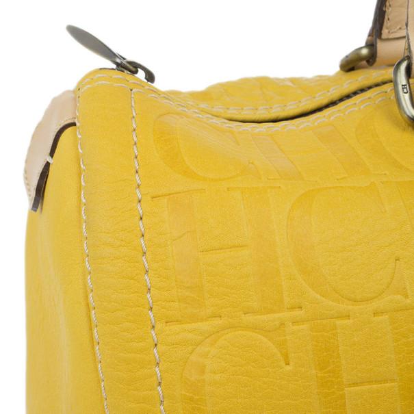 Carolina Herrera Yellow Monogram Leather Andy Boston Bag