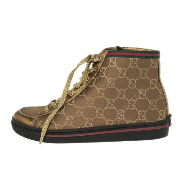Gucci Brown Guccissima Canvas High Top Sneakers Size 37