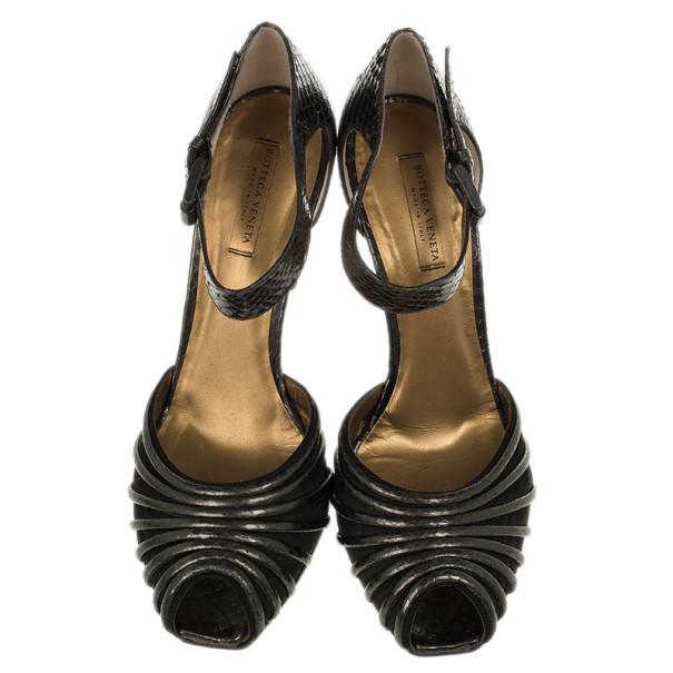 Bottega Veneta Metallic Python Embossed Mary Jane Pumps Size 40.5