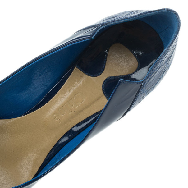 Chloe Blue Croc Embossed and Patent Leather Irina Pointed Toe Pumps Size 40