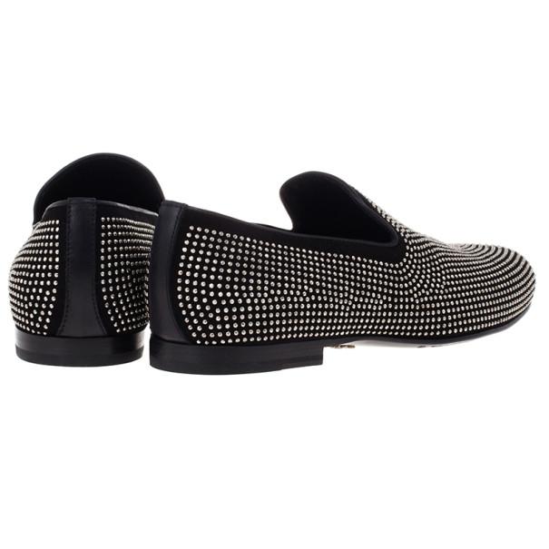 Jimmy Choo Black Mini Studded Suede Sloane Smoking Slippers Size 41