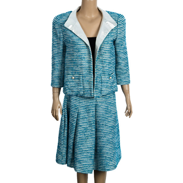 chanel blue tweed skirt suit l buy sell lc