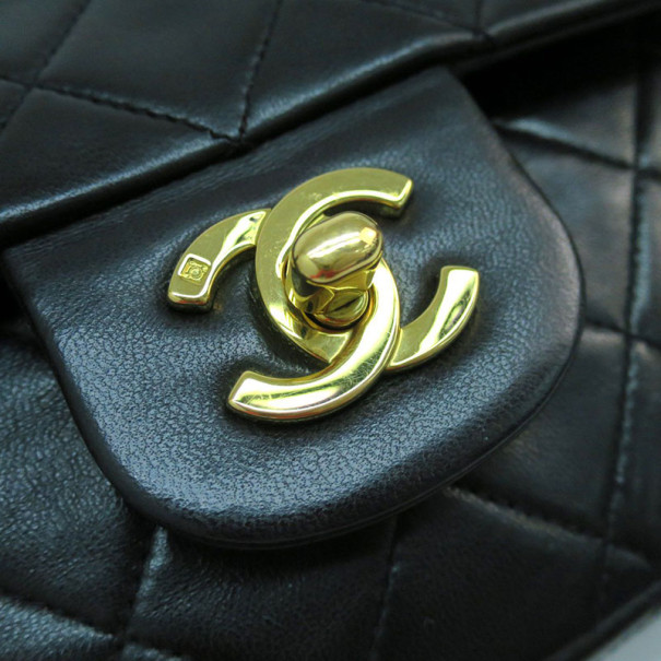 Chanel Black Lambskin Double Flap Medium Shoulder Bag