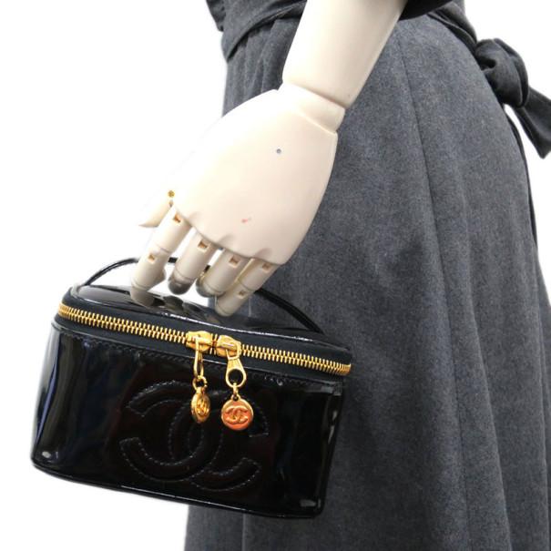 Chanel Black Patent Vanity Bag