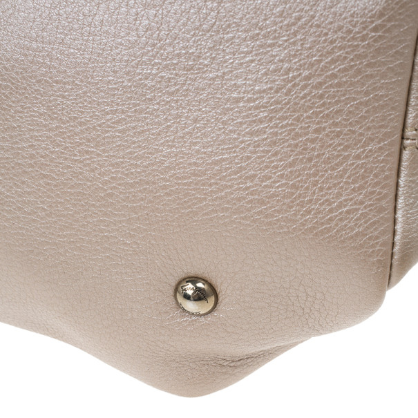 Salvatore Ferragamo Metallic Grey Leather Gancini Detail Handbag