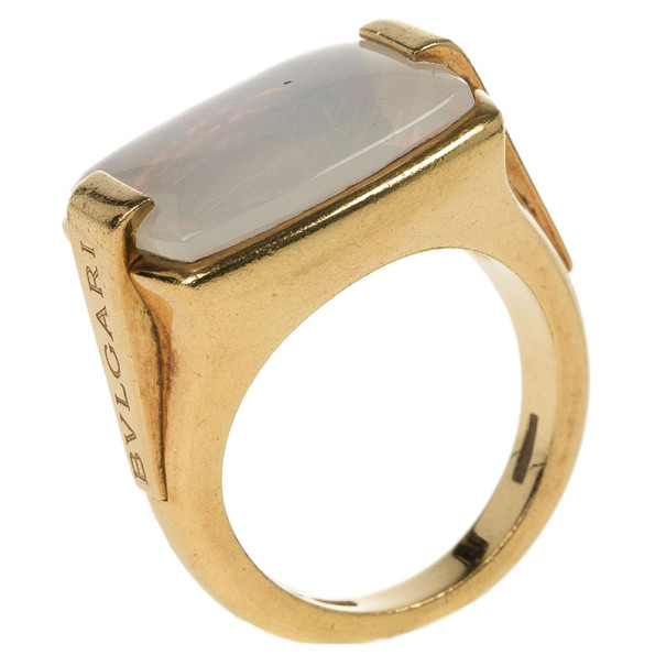 Bvlgari 18K Yellow Gold Chalcedony Ring Size 52