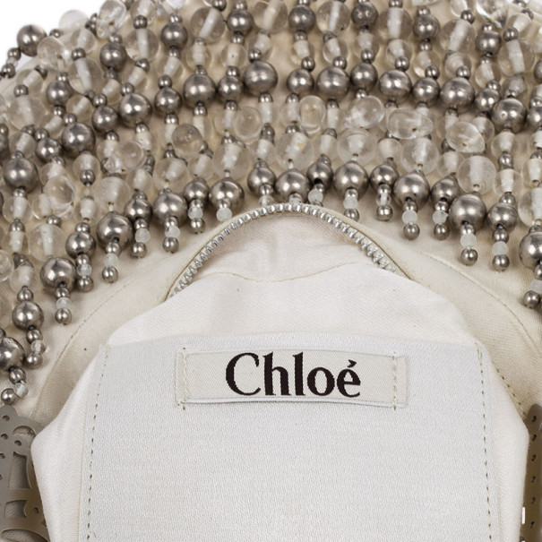Chloe White and Silver Beaded Crescent Hobo