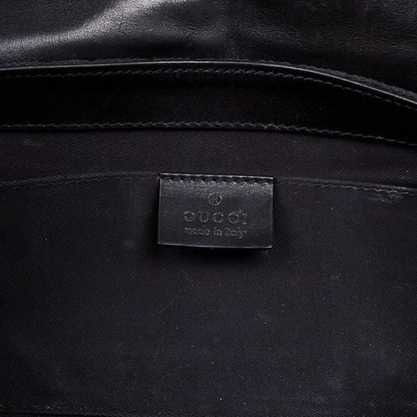 Gucci Black Monogram Canvas Horsebit Flap Clutch