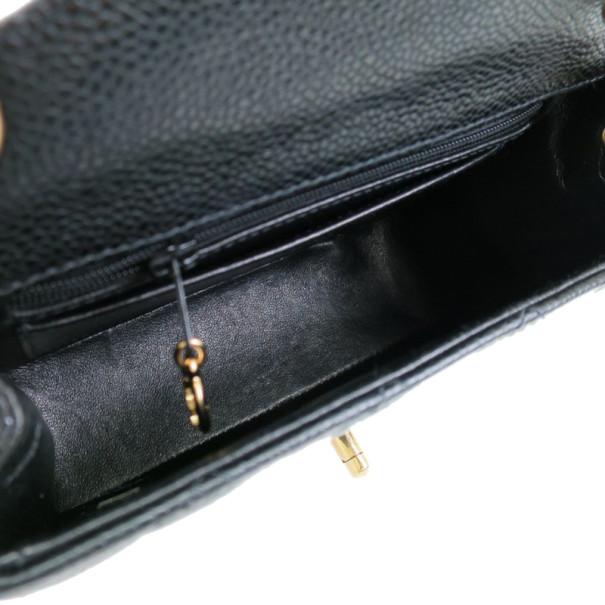 Chanel Black Mini Caviar Single Flap Shoulder Bag