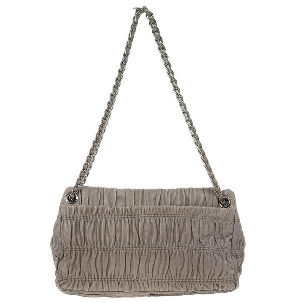 Prada Grey Napa Gaufre Chain Shoulder Bag