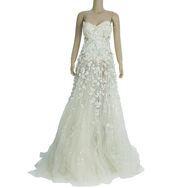 Zuhair murad tiana strapless floral embellished wedding for Zuhair murad wedding dress prices