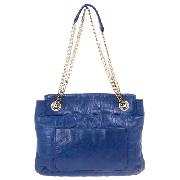 Carolina Herrera Blue Leather Small Audrey