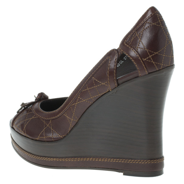 Dior Brown Cannage Leather Peep Toe Wedge Pumps Size 40